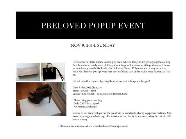 luxury preloved pop up hong kong nov 9 soho